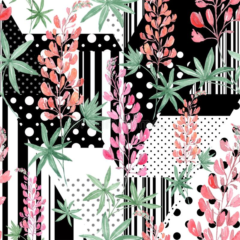 Seamless Pink watercolor flowers on abstract black and white background. vector illustration