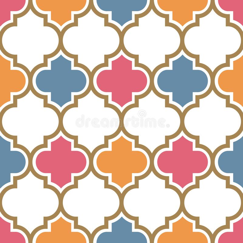 Vector moroccan repeat seamless pattern. Pink, yellow and blue with gold beige line on white background. vector illustration