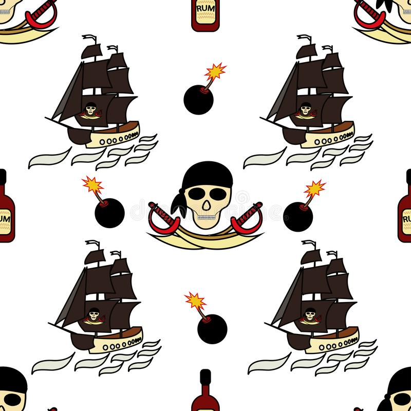 Seamless pirates themed background drawings by hand. Pirate symbols-swords, a ship with black sails, skull and bones, a jointer. royalty free illustration