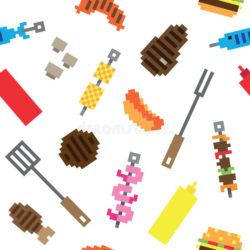 Seamless pixel barbecue meat pattern royalty free illustration