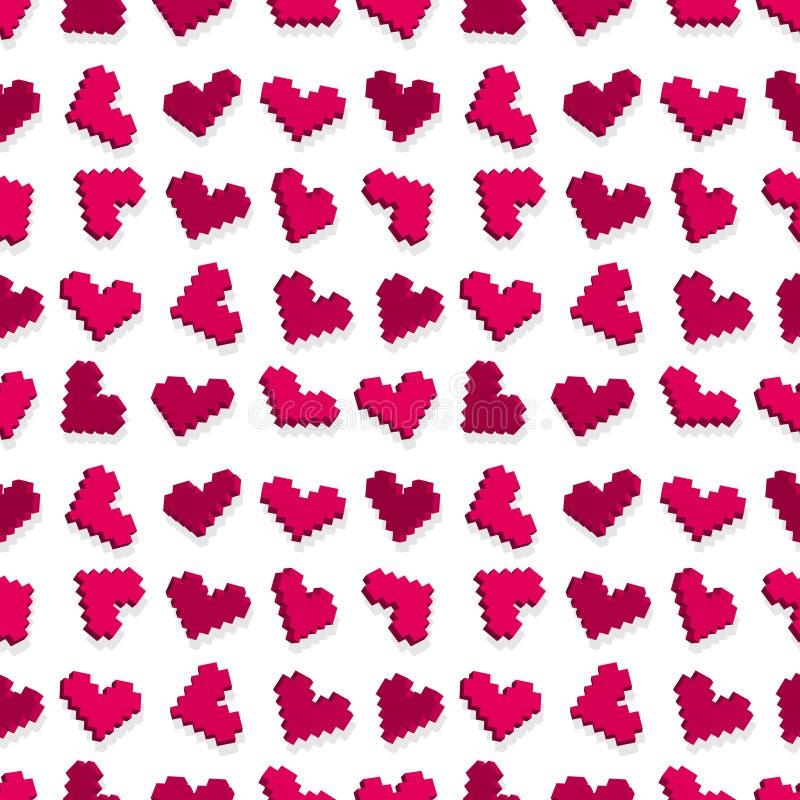 seamless PIXEL för pink för bakgrundshjärtamodell royaltyfri illustrationer