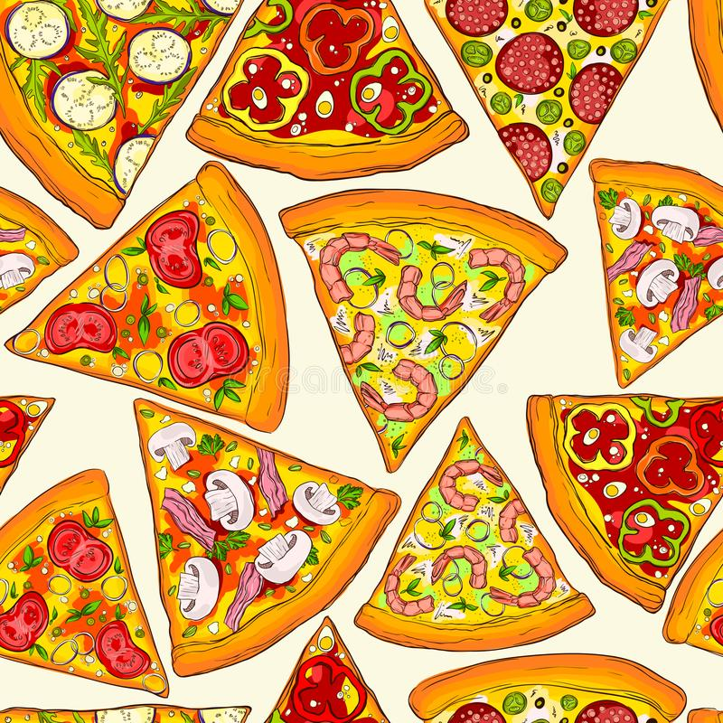 Seamless pizza pattern. royalty free stock images