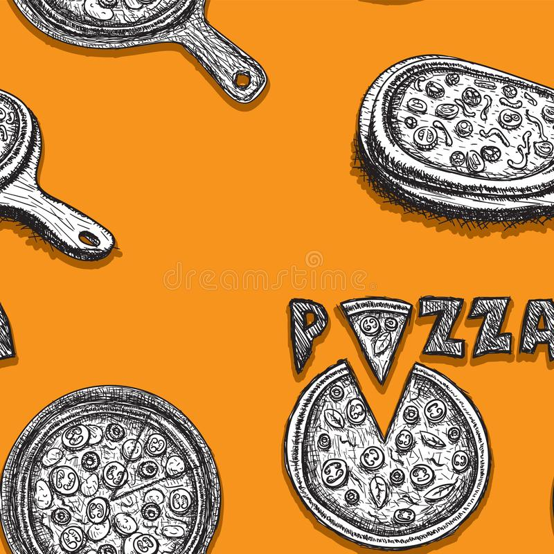 Seamless pizza pattern on tray, hand drawn line art on orange background. Vector image vector illustration
