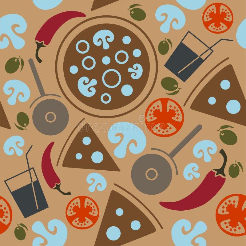 Seamless Pizza pattern. vector illustration