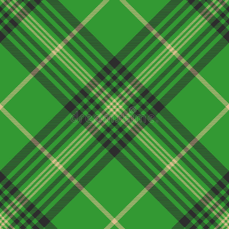 Seamless plaid green tartan check fabric texture stock photo