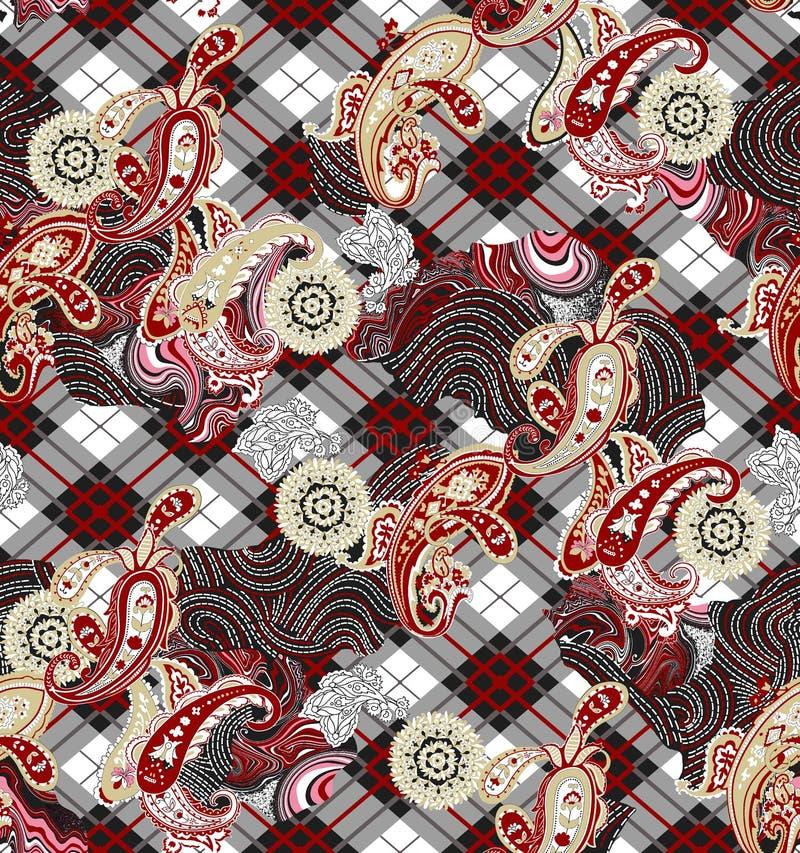 Seamless plaid stripe, geometric paisley ethnic pattern print. vector illustration