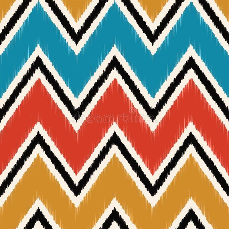 Seamless retro multicolored fabric wide chevron wave textile pattern.  vector illustration