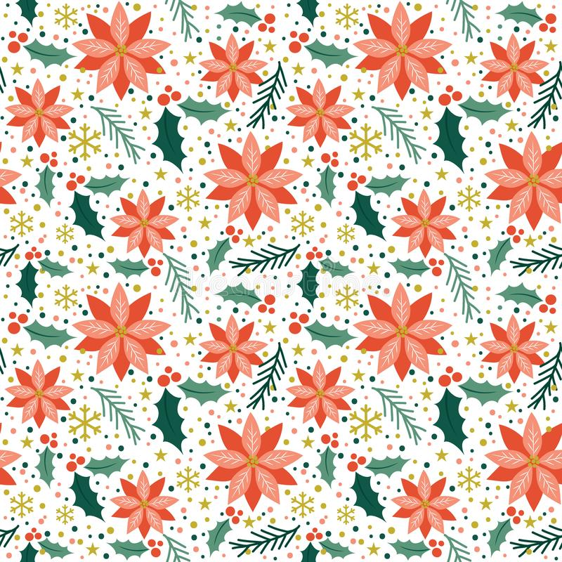 Seamless poinsettia pattern design stock illustration