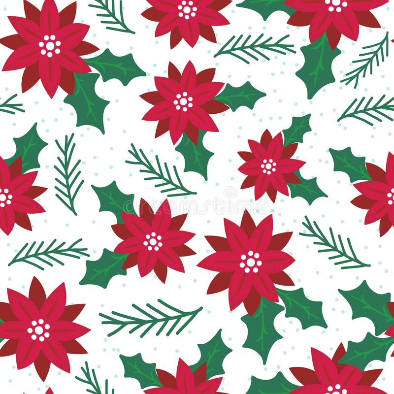 Seamless poinsettia with red and green color royalty free stock photos