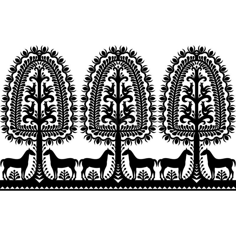 Seamless Polish folk art black pattern. Vector repetitive design of horse, tree and chickens - folk design from the region of Kurpie in Poland royalty free illustration