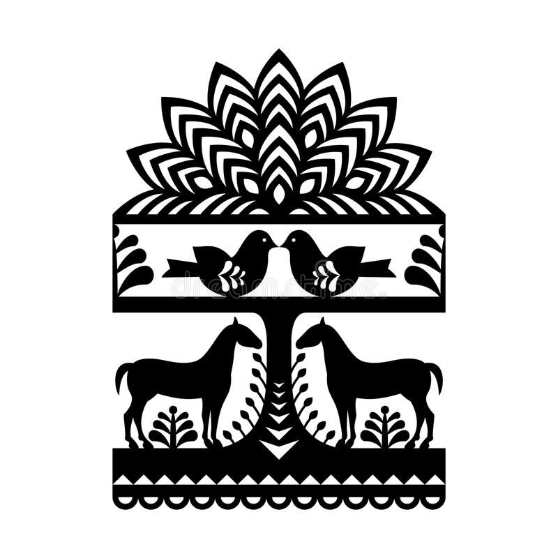 Seamless Polish folk art black pattern. Vector repetitive design with horses, birds, trees and flowers - folk design from the region of Kurpie in Poland royalty free illustration