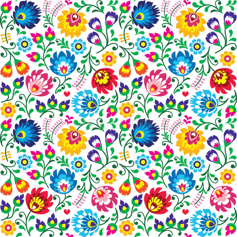 Seamless Polish folk art floral pattern - wzory lowickie, wycinanki. Repetitive background with flowers - Slavic folk art pattern stock illustration