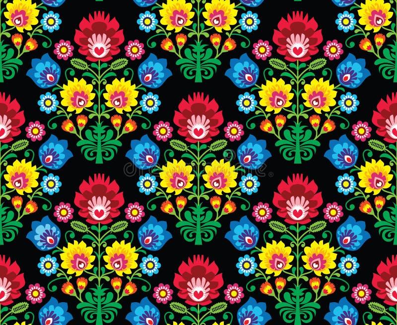 Seamless Polish folk art floral pattern - wzory lowickie, wycinanki. Repetitive pattern - Slavic folk art embroidery on black background stock illustration