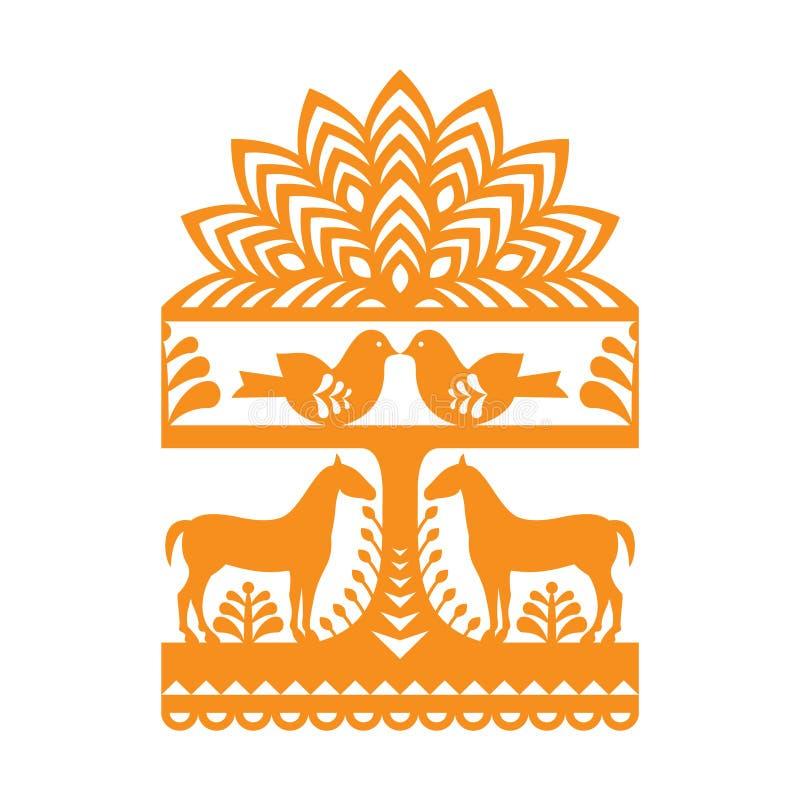 Seamless Polish folk art orange pattern Wycinanki Kurpiowskie - Kurpie Papercuts. Vector repetitve design with horses, birds, trees and flowers - folk design stock illustration