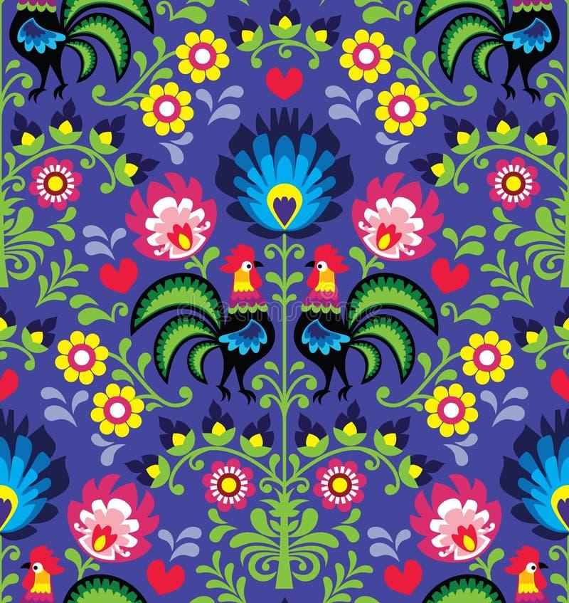 Seamless Polish folk art pattern with roosters - Wzory Lowickie, Wycinanka royalty free illustration