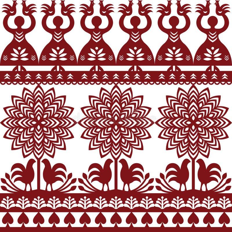 Seamless Polish folk art pattern Wycinanki Kurpiowskie - Kurpie Papercuts. Repetitive vector folk design from the region of Kurpie in Poland with women, tree stock illustration