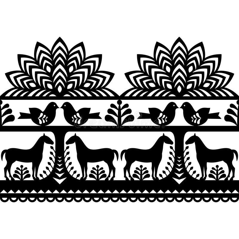 Seamless Polish folk art pattern Wycinanki Kurpiowskie - Kurpie Papercuts. Vector black repetitve design with horses, birds, trees and flowers - folk design from stock illustration