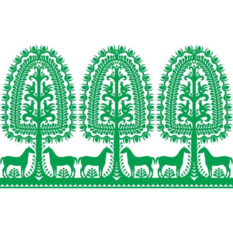Seamless Polish folk art pattern Wycinanki Kurpiowskie - Kurpie Papercuts. Vector repetitve design of horse, tree and chickens - folk design from the region of vector illustration
