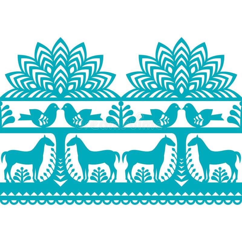 Seamless Polish folk art pattern Wycinanki Kurpiowskie - Kurpie Papercuts. Vector repetitve design with horses, birds, trees and flowers - folk design from the stock illustration