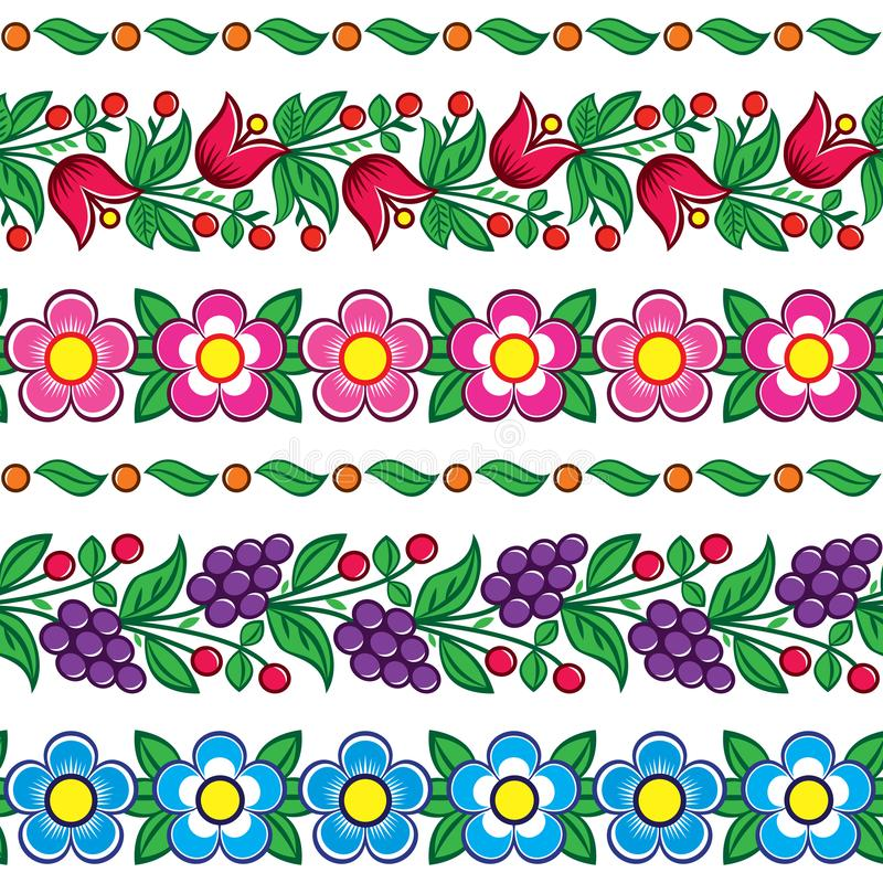 Seamless Polish folk art vector pattern - Zalipie traditional design with flowers and leaves stock illustration