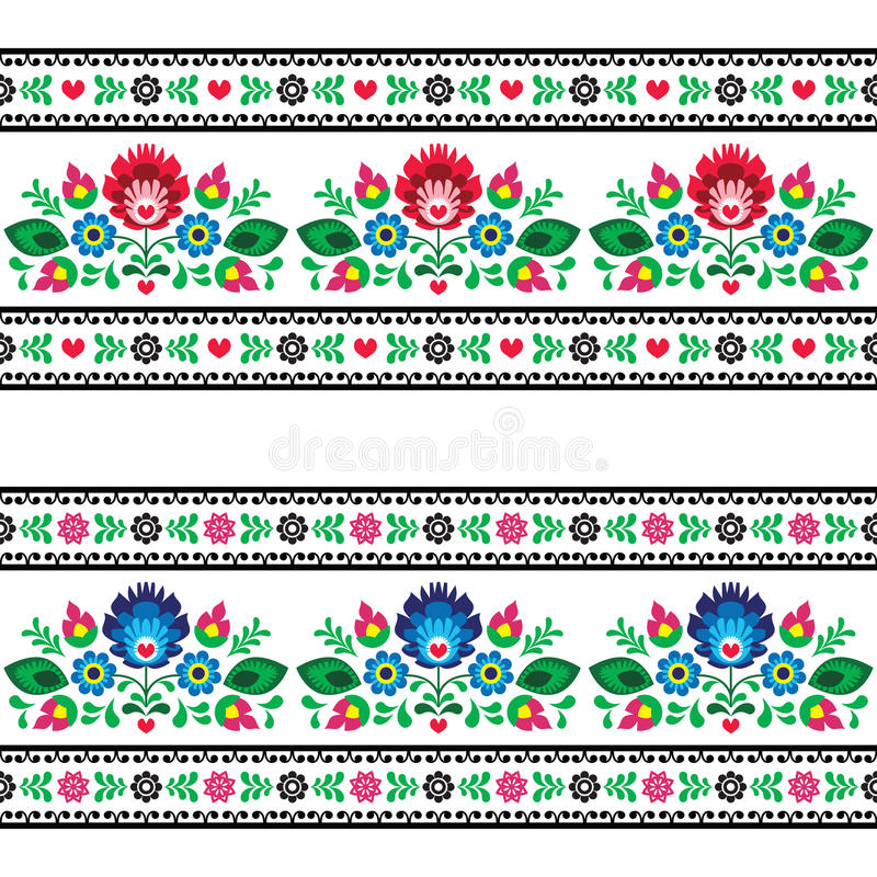 Seamless Polish folk pattern with flowers royalty free illustration