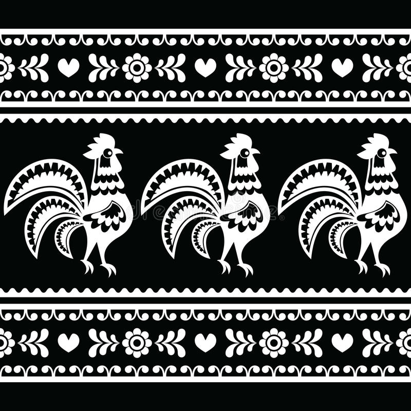 Seamless Polish monochrome folk art pattern with roosters royalty free illustration