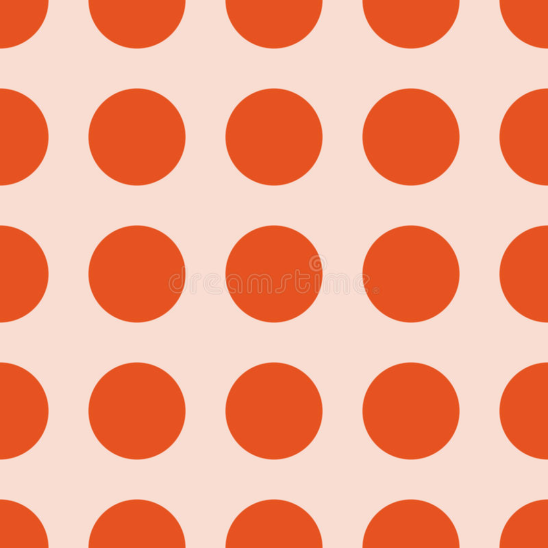 Seamless Polka dot background. Trendy colour polka dot seamless pattern. Dots fashion with pink background and orange circles stock illustration