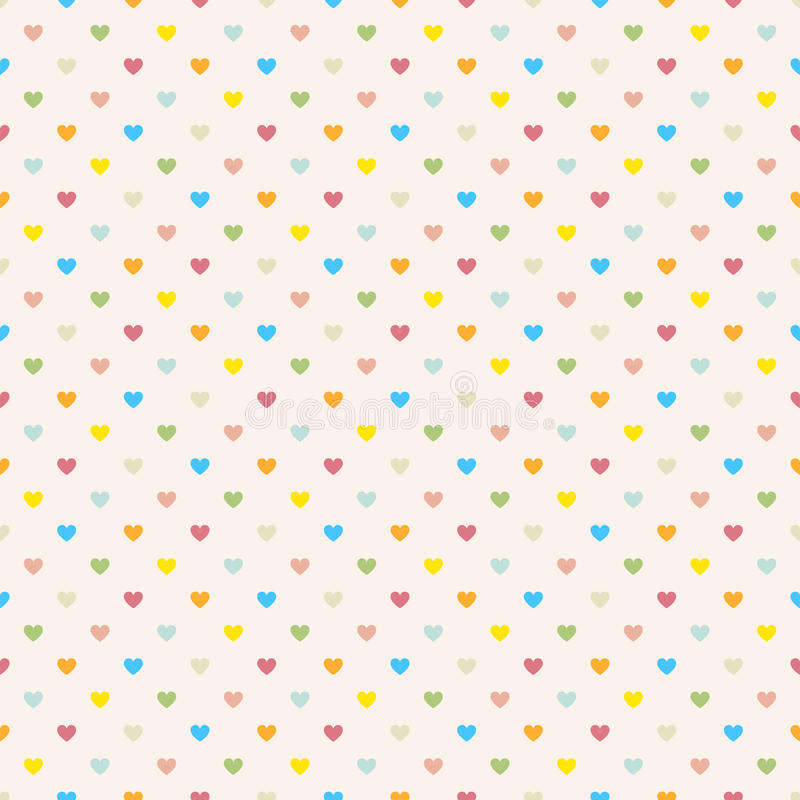 Seamless polka dot colorful pattern with hearts. royalty free illustration