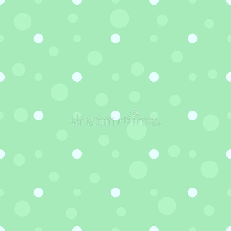 Seamless polka dot pattern in pastel colors. Green bubbles flat background. Children`s bedroom, kids cloth texture. Vector vector illustration