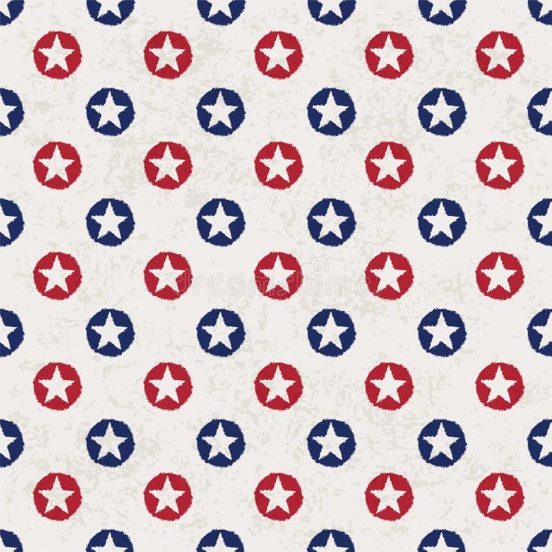 Seamless Polka Dot Pattern With Stars Stock Photo
