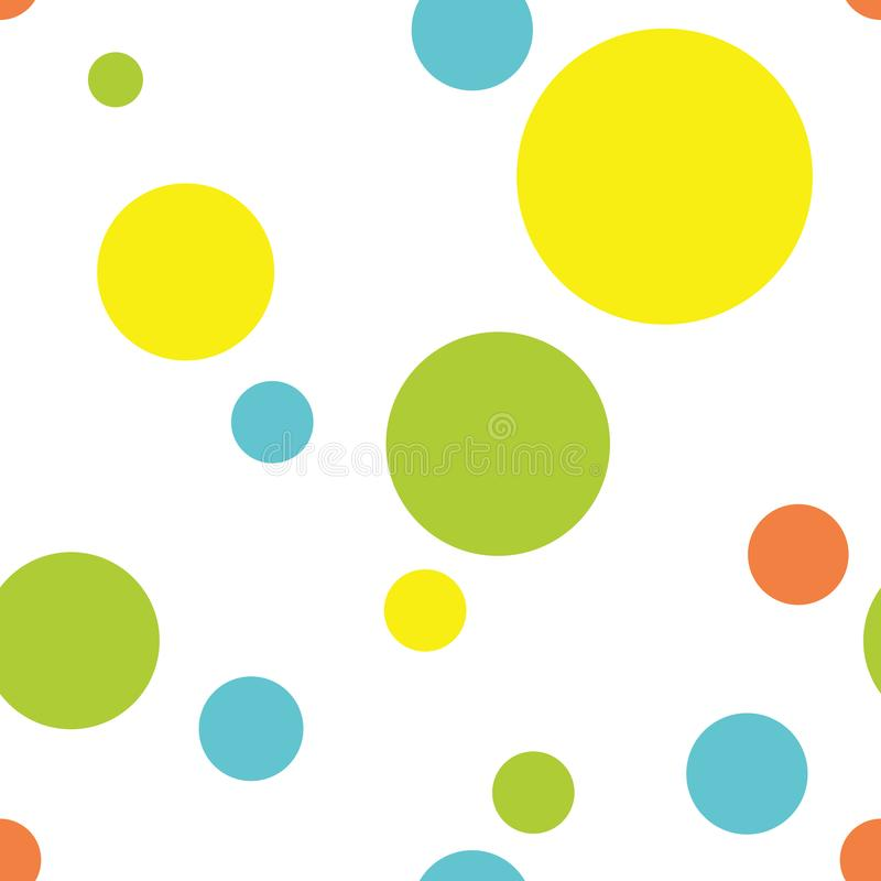 Seamless Polka Dot Pattern Background in Turquoise, Lime Green, Yellow and Orange stock illustration