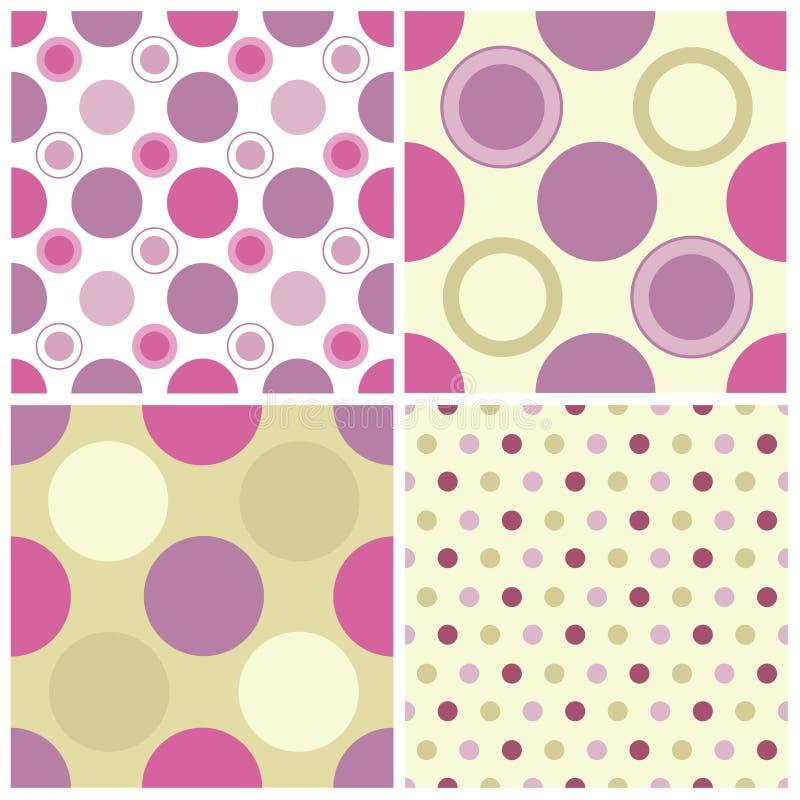 Seamless polka dots. Cute pink and green seamless polka dots pattern. vector available stock illustration