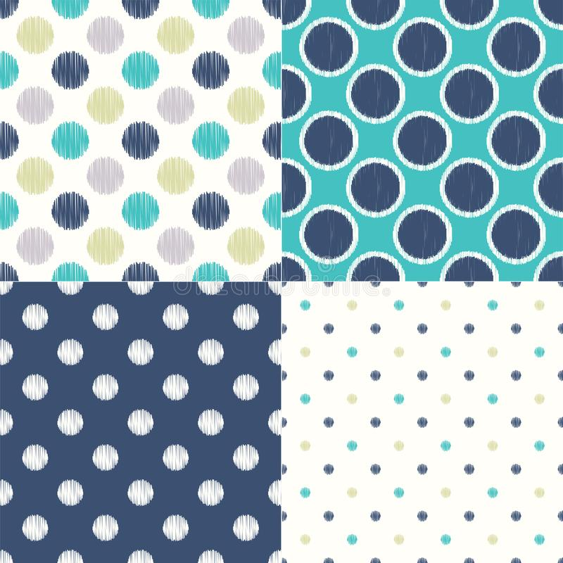 Seamless polka dots circle pattern. Repeated simple texture background. 4 in 1 set vector illustration