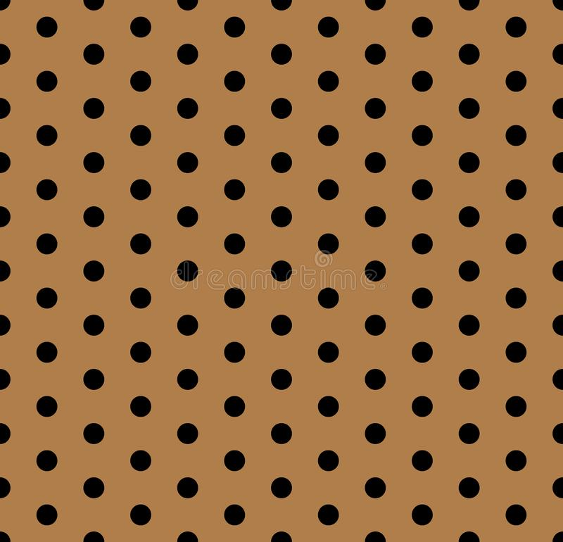 Seamless polka dots pattern background. Polka dot fabric. Retro vector background or pattern. Casual stylish black polka dot texture on gold background royalty free illustration