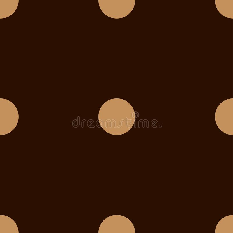 Seamless polka dots pattern. Beige circles on a brown background. Illustration. Vector vector illustration