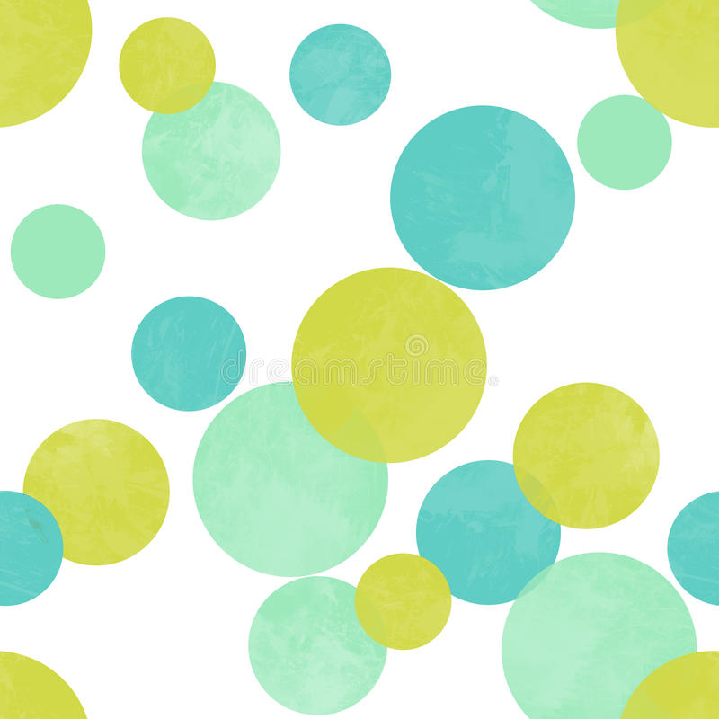 Seamless polka dots pattern in lime green blue. Color vector illustration