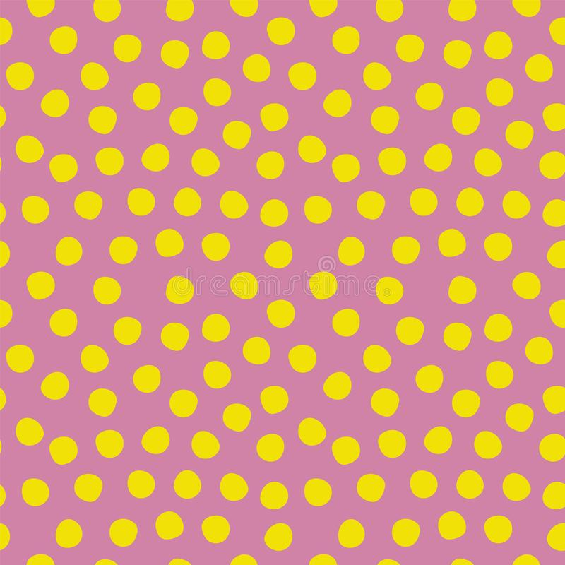 Seamless polka dots pattern purple yellow lime. Violet and green repeating background with polka dots. Polka dot fabric.  royalty free illustration
