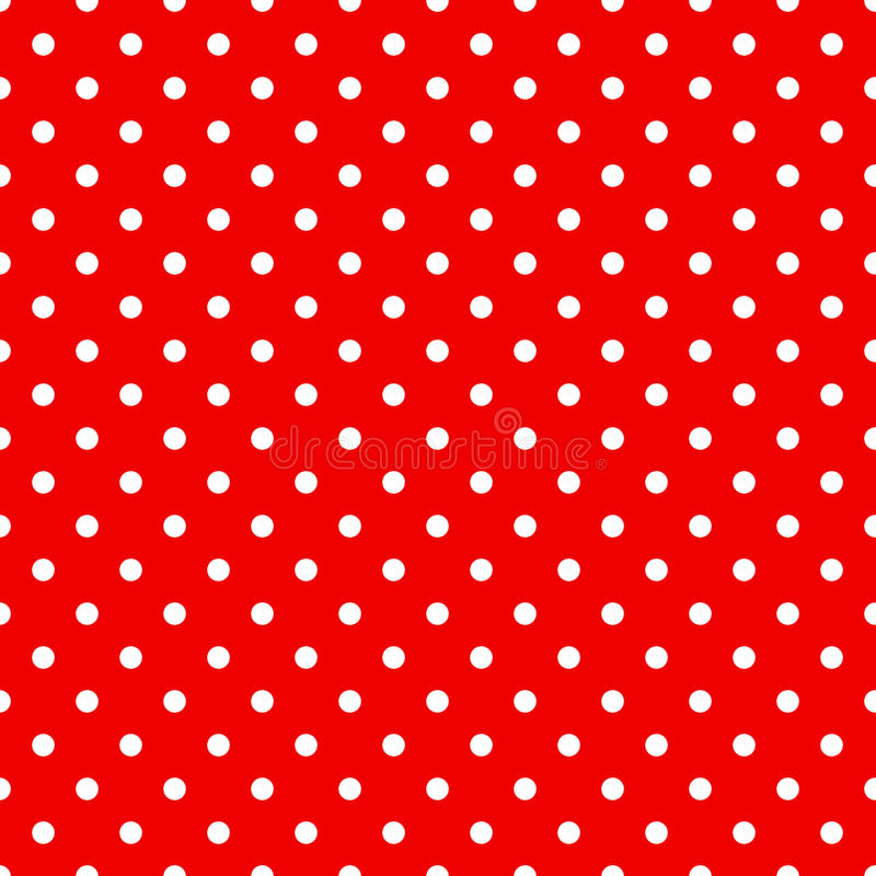 Seamless polka dots pattern in red. Color stock illustration