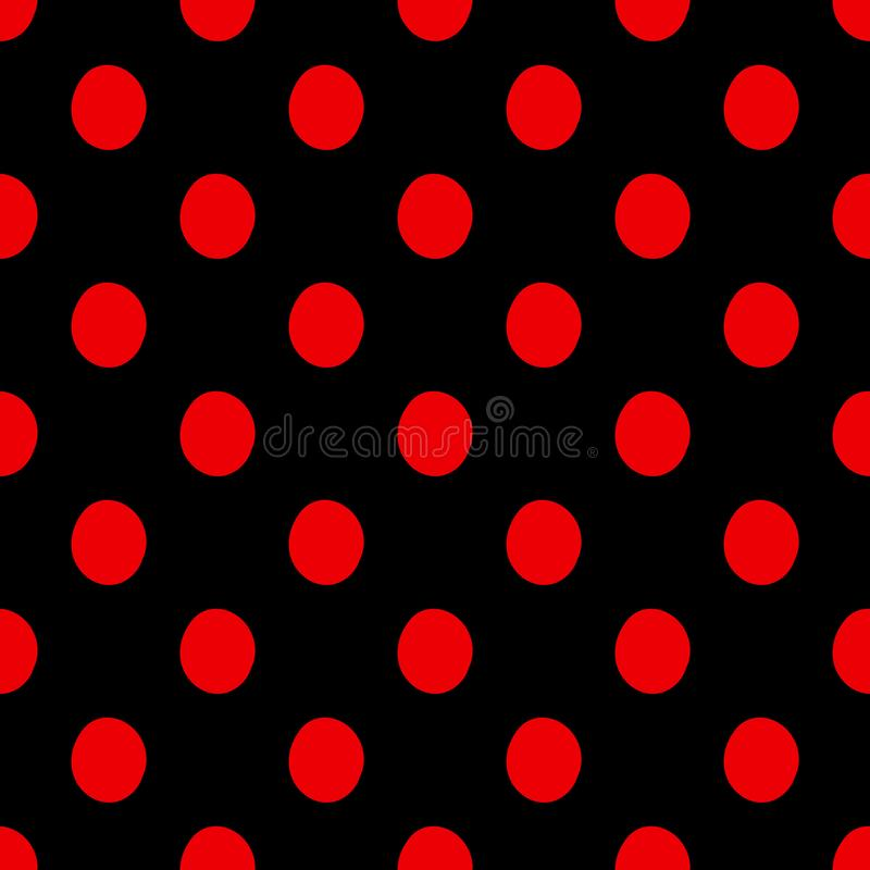 Seamless polka dots pattern vector background vintage retro abstract design colorful art with circle shapes black red. Round stock illustration