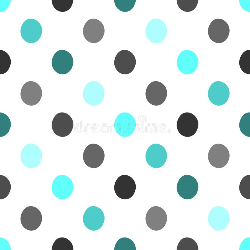 Seamless polka dots pattern vector background vintage retro abstract design colorful art with circle shapes. Image royalty free illustration
