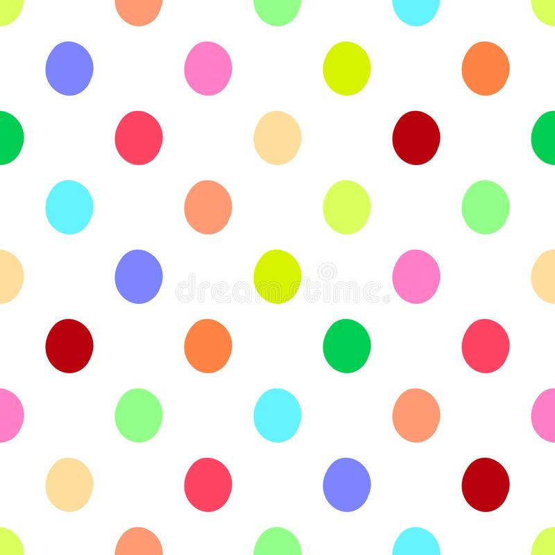 Seamless polka dots pattern vector background vintage retro abstract design colorful art with circle shapes. Round stock illustration