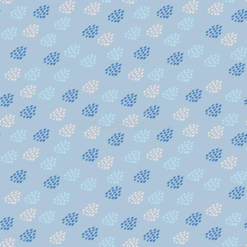 Seamless polka dots vector pattern with raindrops in pastel blues and pink. A seamless polka dots vector pattern with raindrops in pastel blues and pink. Surface stock illustration