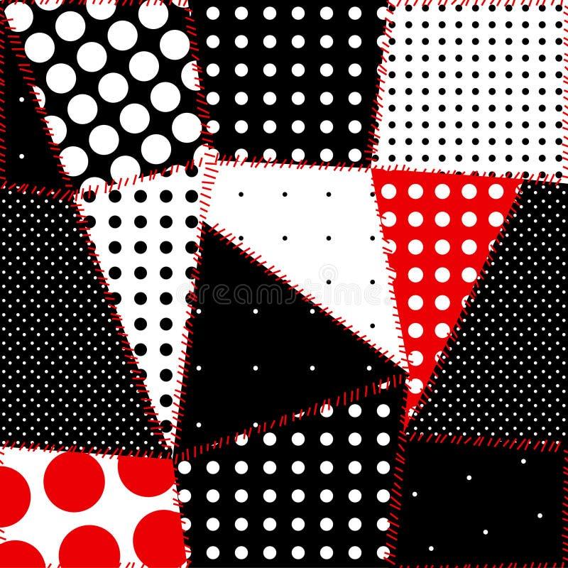 seamless polka för bakgrundsprickpatchwork royaltyfri illustrationer
