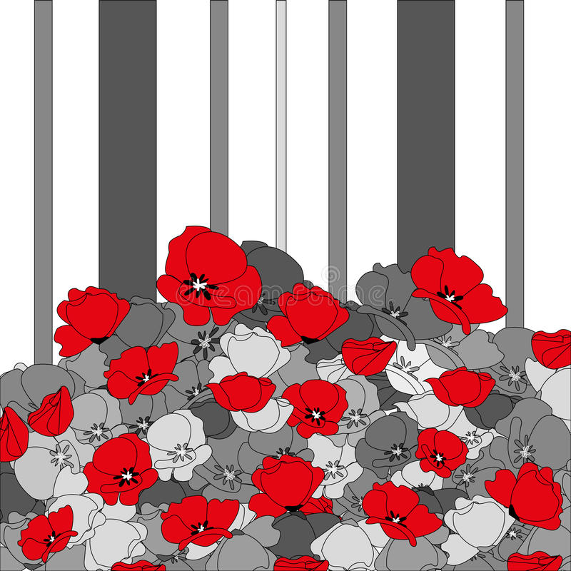 Seamless poppies and stripes stock images