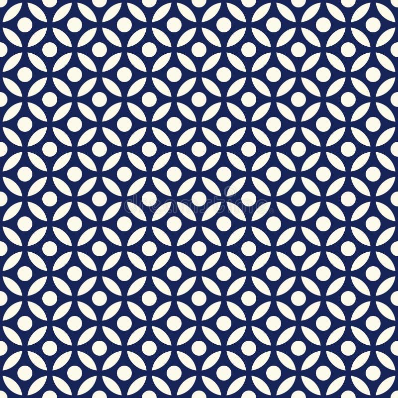 Seamless porcelain indigo blue and white arabic round pattern vector stock illustration