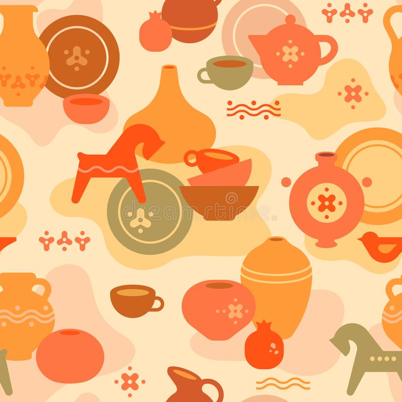 Seamless pottery pattern with vases and others ceramic. Clay horse, women, and other dishes. vector illustration