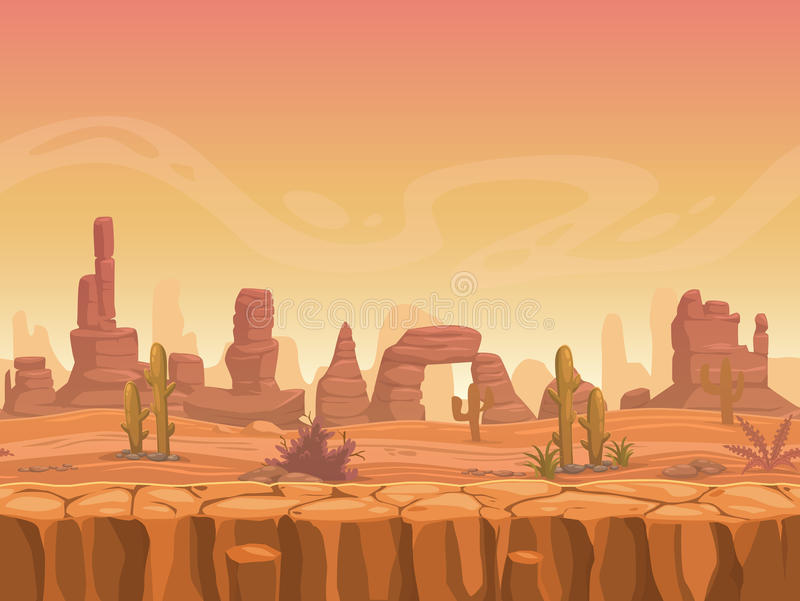 Seamless prairie landscape. Nature unending background, separated layers ready for animation royalty free illustration