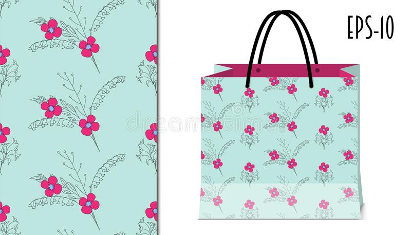 Seamless pretty floral pattern and packing mockup vector illustration