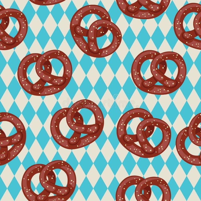 Seamless pretzel wallpaper. Salted pretzels on blue bavarian background royalty free illustration