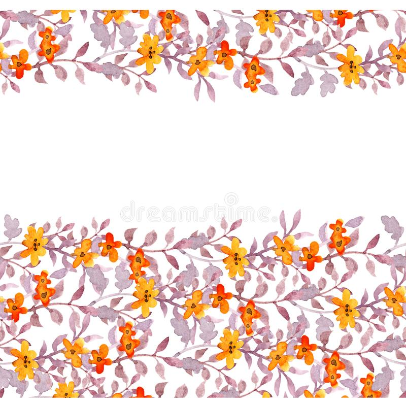 Seamless primitive floral banner frame. Cute flowers, ditsy leaves. Watercolour. Seamless primitive floral banner frame. Cute flowers and naive leaves royalty free illustration